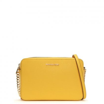 East West Large Sunflower Saffiano Leather Cross-Body Bag