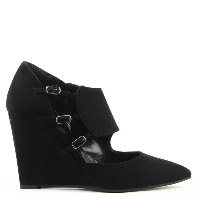 Eastport Black Suede Bucked Wedge Shoe