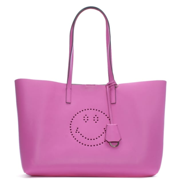 Anya Hindmarch Ebury Bubblegum Circus Leather Smiley Shopper Bag