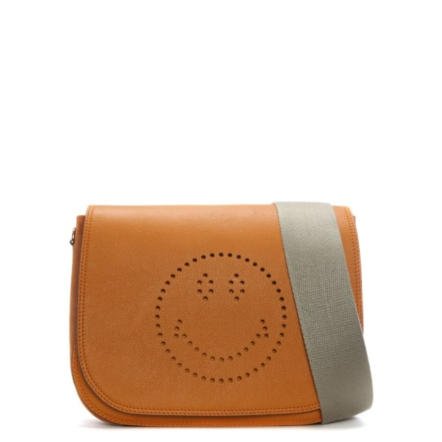 Anya Hindmarch Ebury Manuka Sugar Leather Smiley Satchel Bag