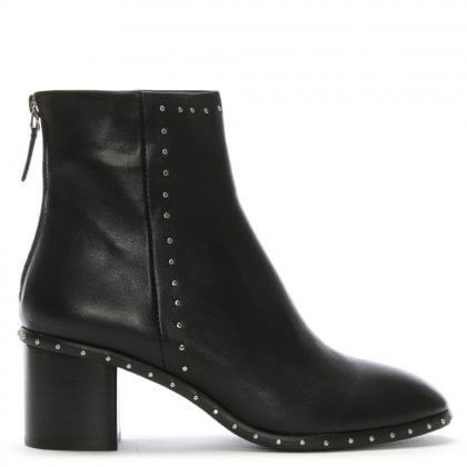 Eckmann Black Leather Studded Ankle Boots