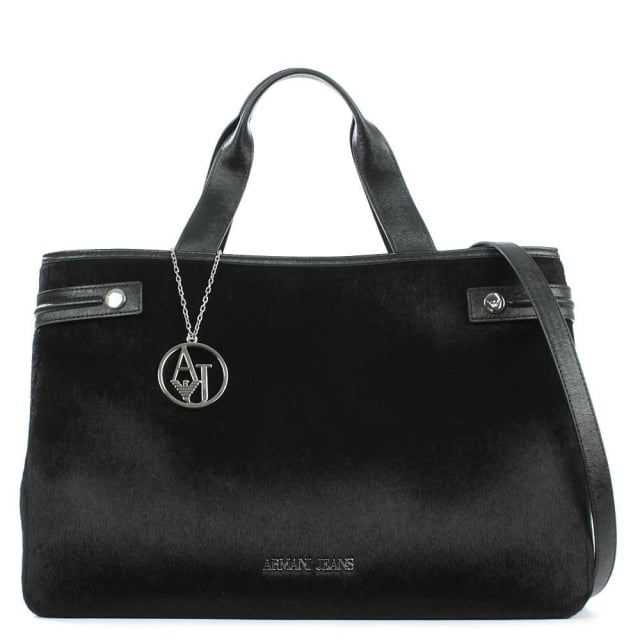 Eco Pony Hair Black Tote Bag