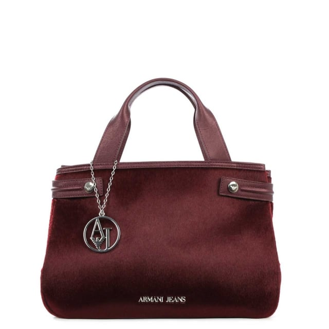 Eco Pony Hair Burgundy Mini Tote Bag