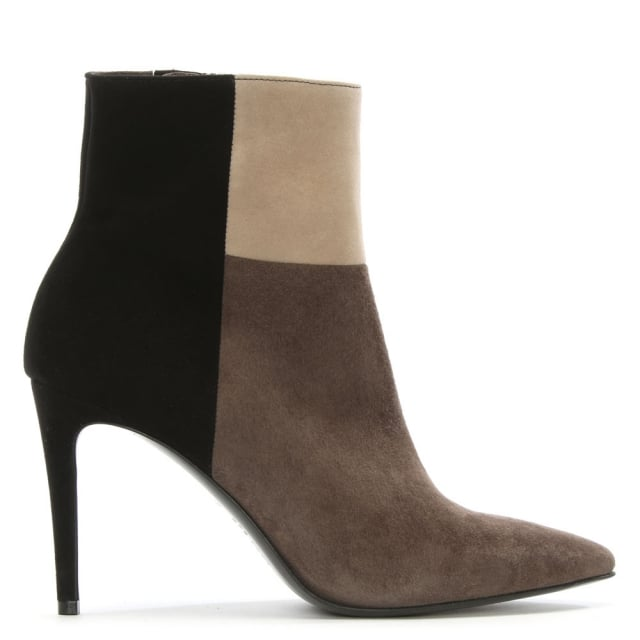 Eddings Black Colour Block Suede Ankle Boot