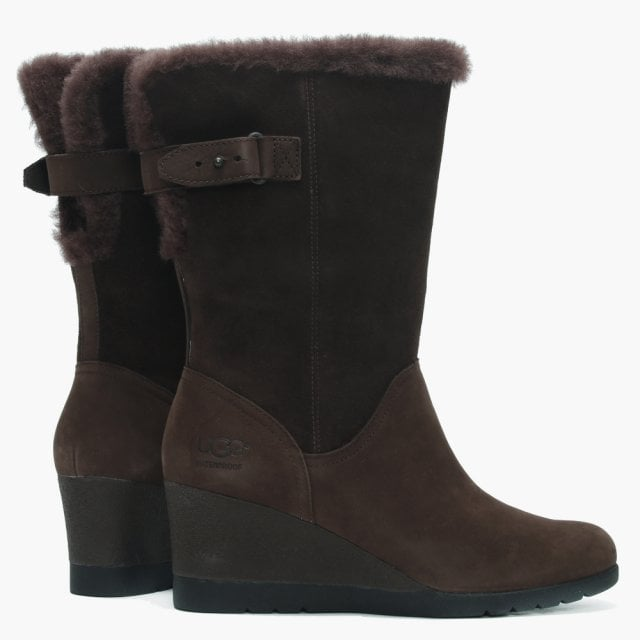 9ff2ff25c5d7 UGG Edelina Brown Twinface Wedge Boots