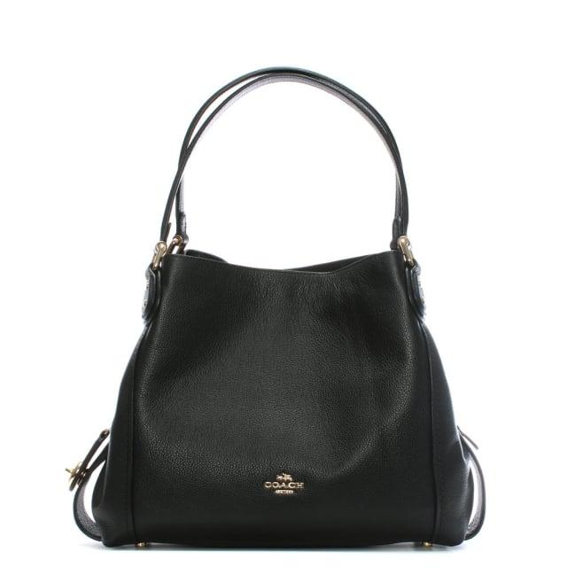 Coach Edie 31 Black Pebbled Leather Shoulder Bag