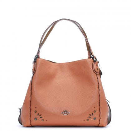 Edie 31 Dark Blush Pebbled Leather Prairie Rivet Shoulder Bag