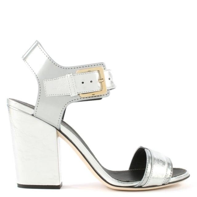 Sergio Rossi Edna Silver Metallic Block Heel Sandal