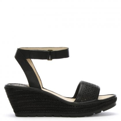 16af949b4a30d Ekal Black Leather Wedge Espadrille Sandals. Sale. Fly London ...