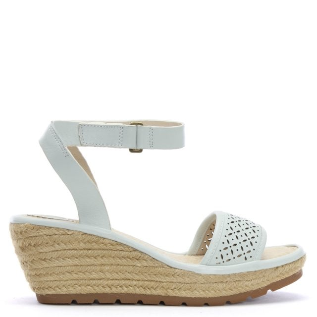 999e31fb7471 Fly London Ekal White Leather Wedge Espadrille Sandals