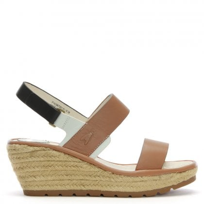 Ekan Tan Leather Two Strap Wedge Espadrille Sandals