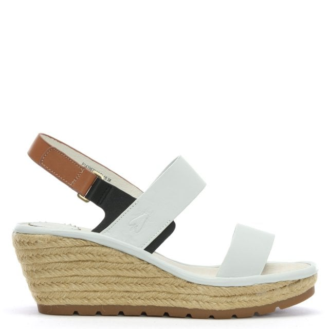 Ekan White Leather Two Strap Wedge Espadrille Sandals