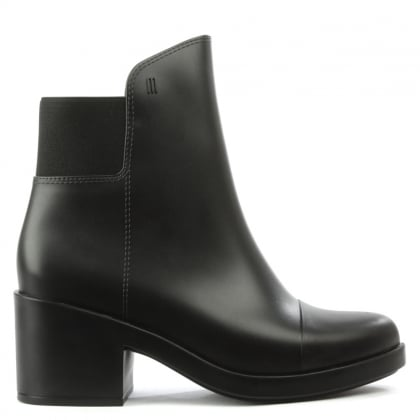 Elastic Back Black Block Heel Rainboot