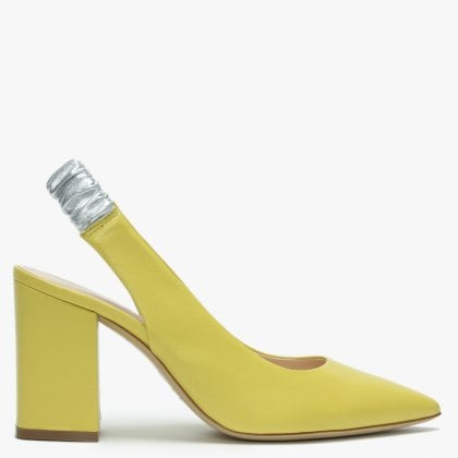 4ed47d35fb5 Elastico Yellow Leather Contrast Sling Back Heels