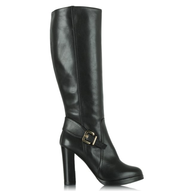Elation Black Leather Knee High Buckled Heeled Boot