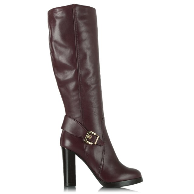 Elation Burgundy Leather Knee High Buckled Heeled Boot