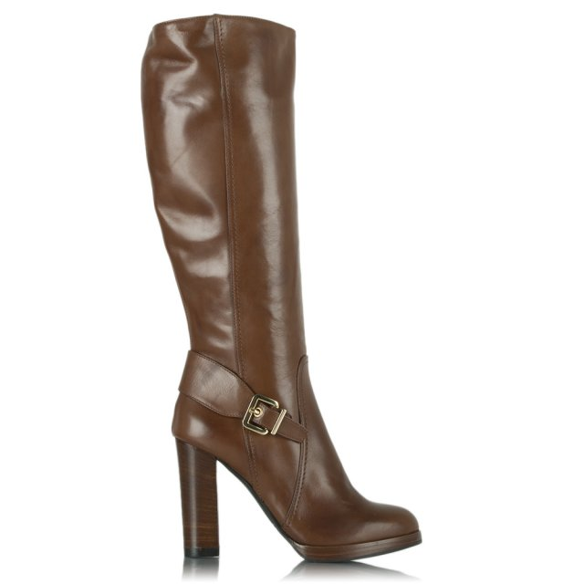 Elation Tan Leather Knee High Buckled Heeled Boot