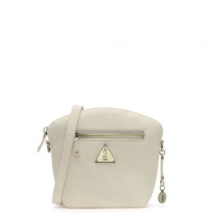 Elil Off White Faux Leather Cross-Body Bag