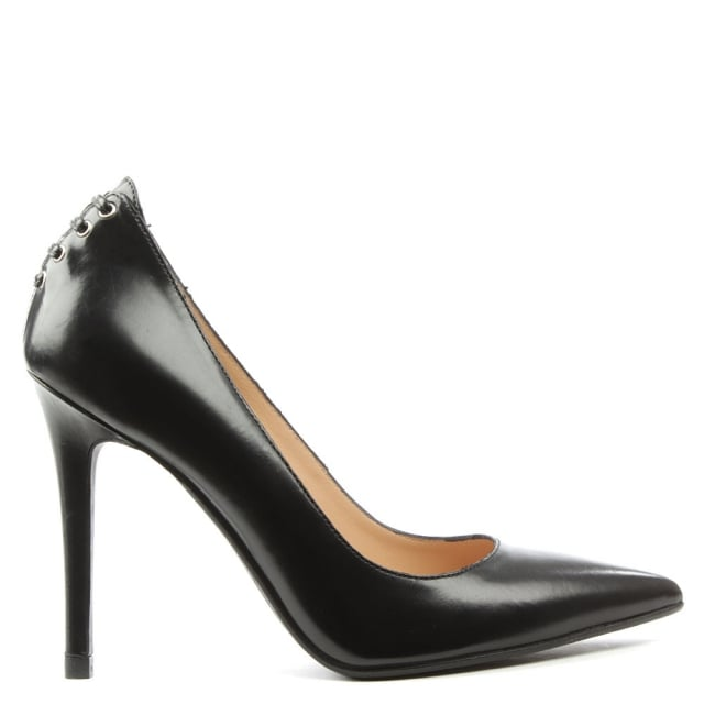 Elisha Black Leather Lace Back Pointed Court Shoe
