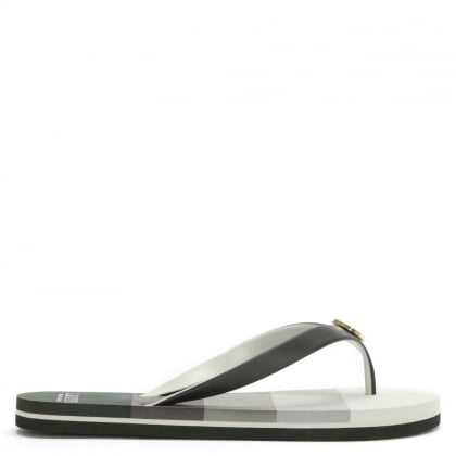 Elissa Black Striped Toe Post Flip Flops