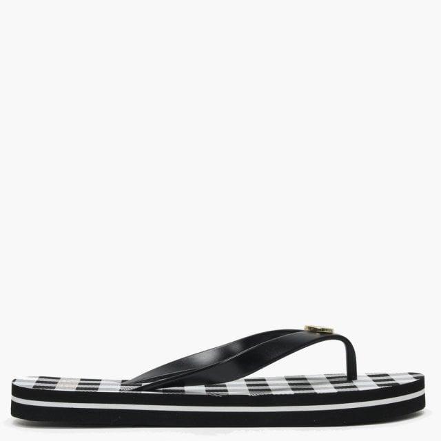 d07121526f450 Lauren Ralph Lauren Elissa III Black   White Striped Flip Flops