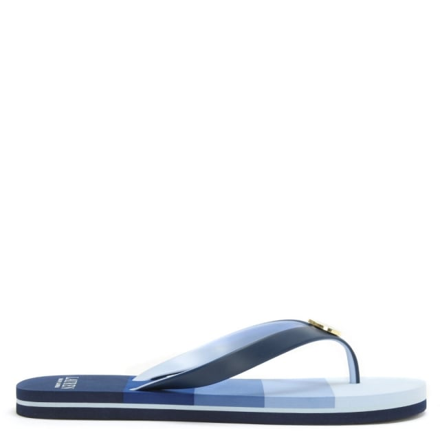 Elissa Navy Striped Toe Post Flip Flops