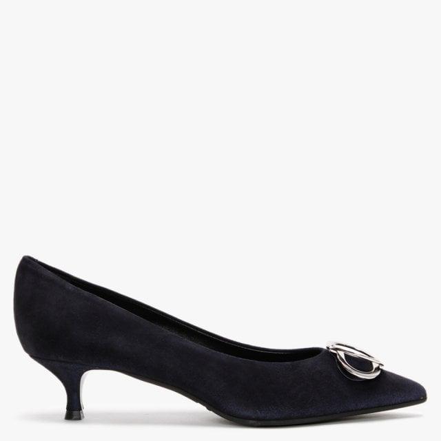 navy suede kitten heels