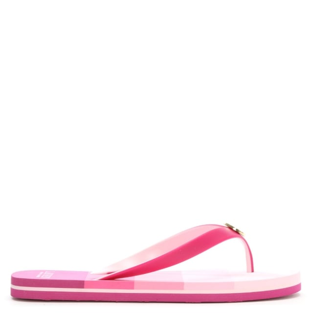 Elissa Pink Striped Toe Post Flip Flops