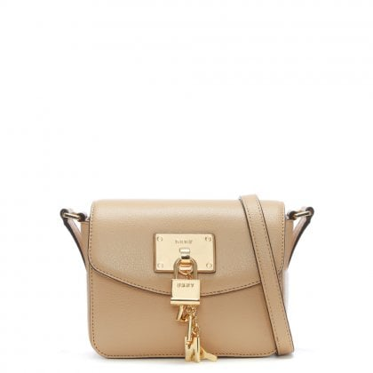 Elissa Small Pebbled Beige Leather Cross-Body Bag