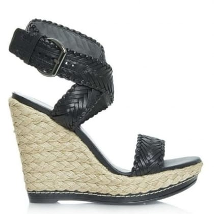 Elixir Black Leather Woven Strap Espadrille Wedge