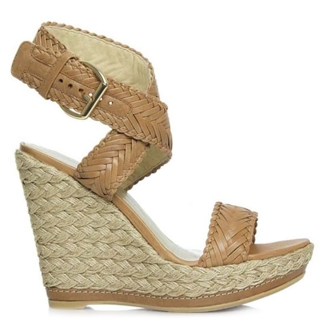 Elixir Tan Leather Woven Strap Espadrille Wedge