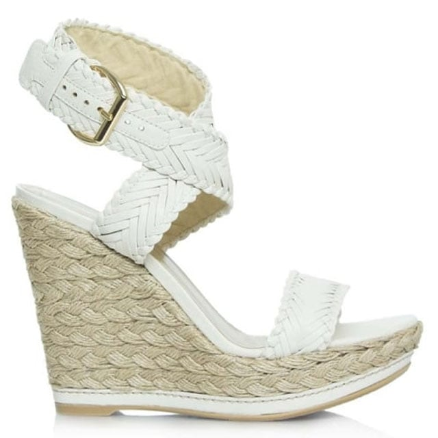 Elixir Taupe Leather Woven Strap Espadrille Wedge