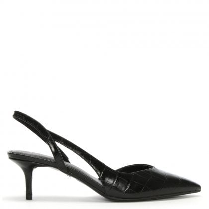 Eliza Black Moc Croc Leather Sling Back Kitten Heels