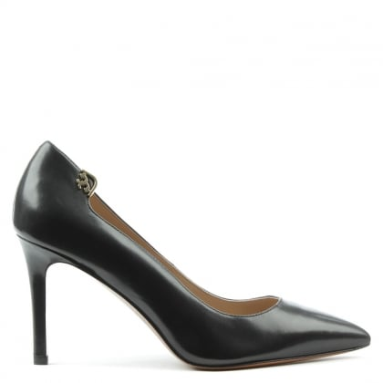 Elizabeth Black Leather 85MM Pump