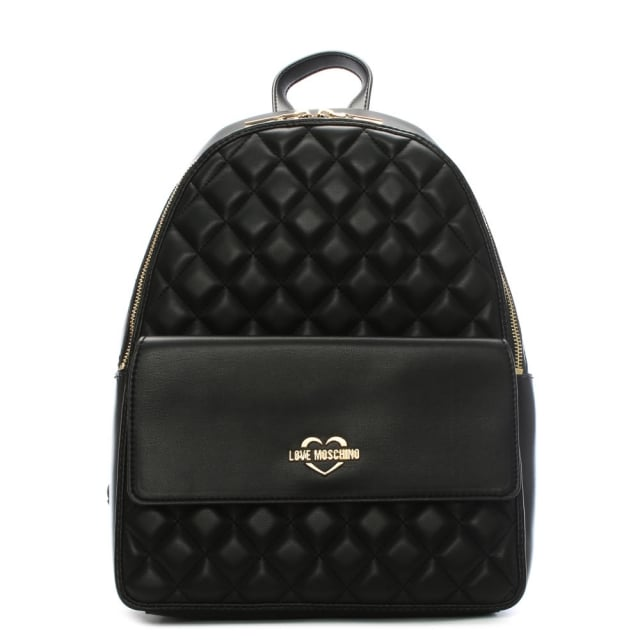 Love Moschino Ella Black Quilted Backpack