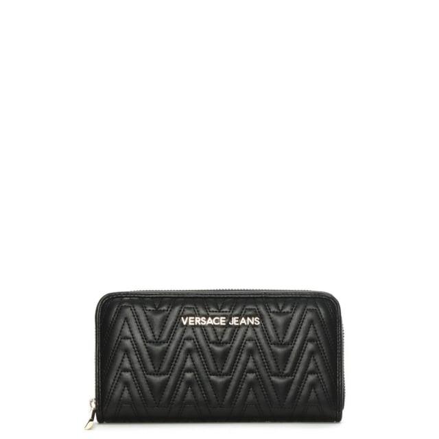 Versace Jeans Ella Black Quilted Zip Around Wallet