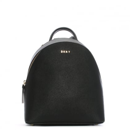 Elle Medium Black Saffiano Leather Backpack