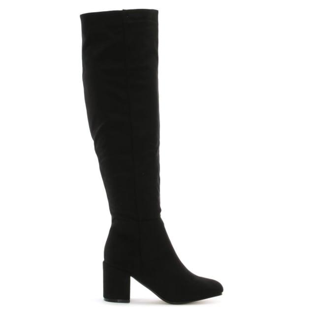 DF By Daniel Ellerton Black Suedette Black Heel Over The Knee Boots