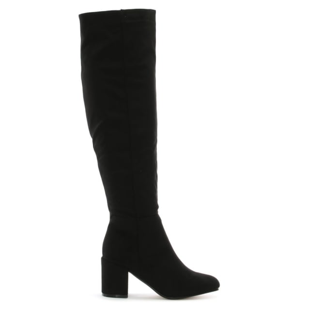 Ellerton Black Suedette Black Heel Over The Knee Boots