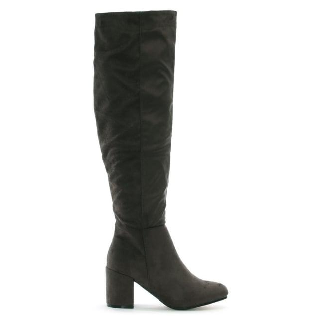 DF By Daniel Ellerton Grey Suedette Black Heel Over The Knee Boots