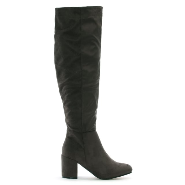 Ellerton Grey Suedette Black Heel Over The Knee Boots