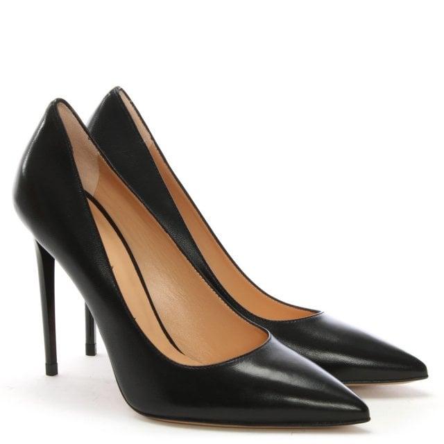 b5d016435ed Ellesia Black Leather Spike Heel Court Shoes