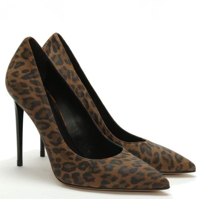 1321e9eeff84 Daniel Ellesia Leopard Suede Spike Heel Court Shoes