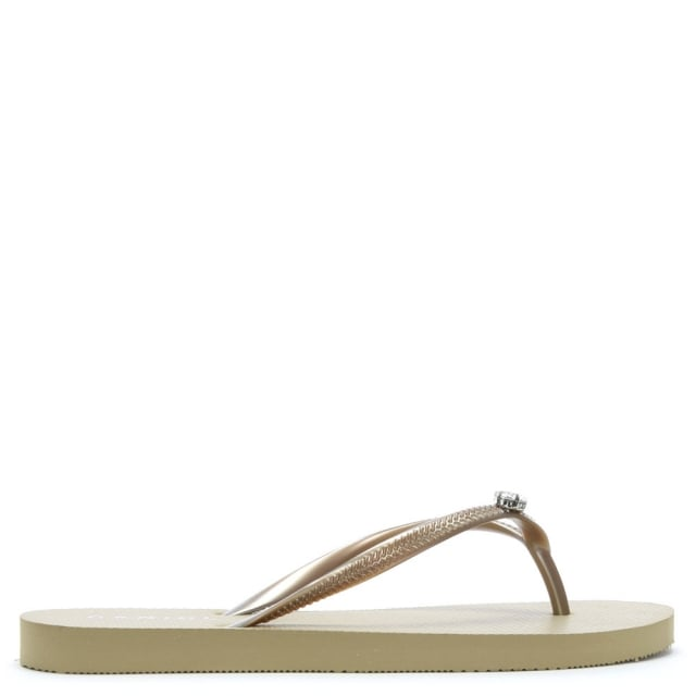 Elona Gold Jewelled Toe Post Flip Flops