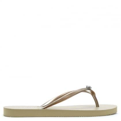 373701d678ee20 Elona Gold Jewelled Toe Post Flip Flops