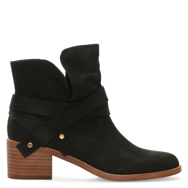 Elora Black Leather Stacked Heel Ankle Boots