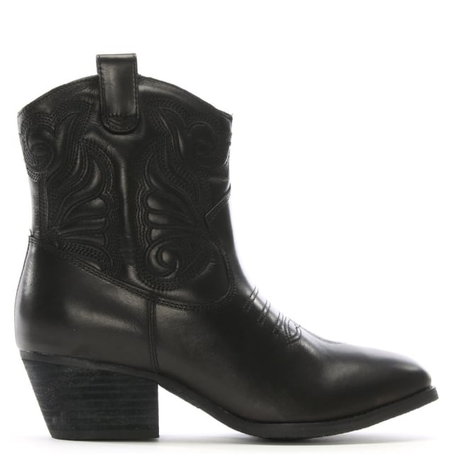 Elsa Black Leather Western Ankle Boots