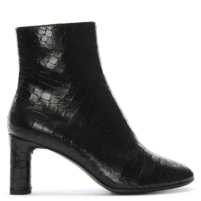 Elte Black Leather Reptile Ankle Boots