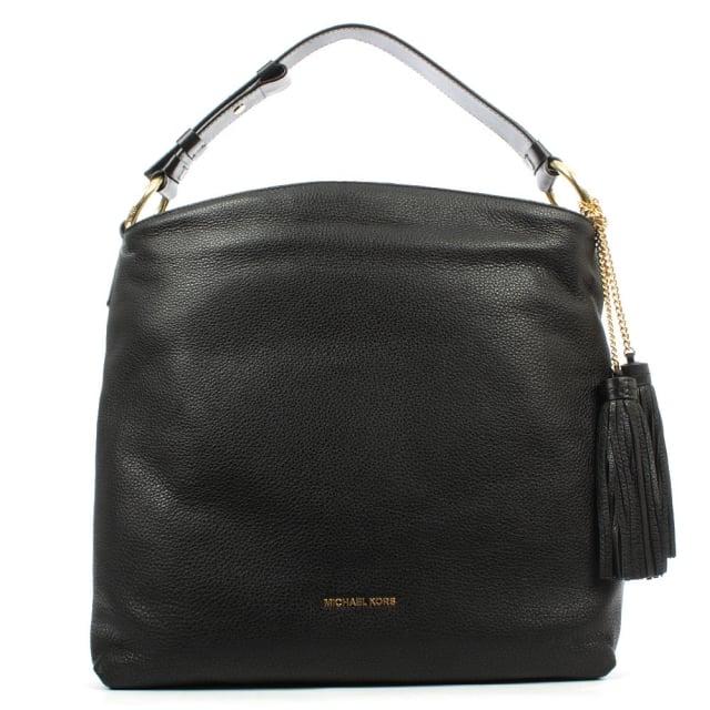 a54acf397c Michael Kors Elyse Large Black Leather Shoulder Bag