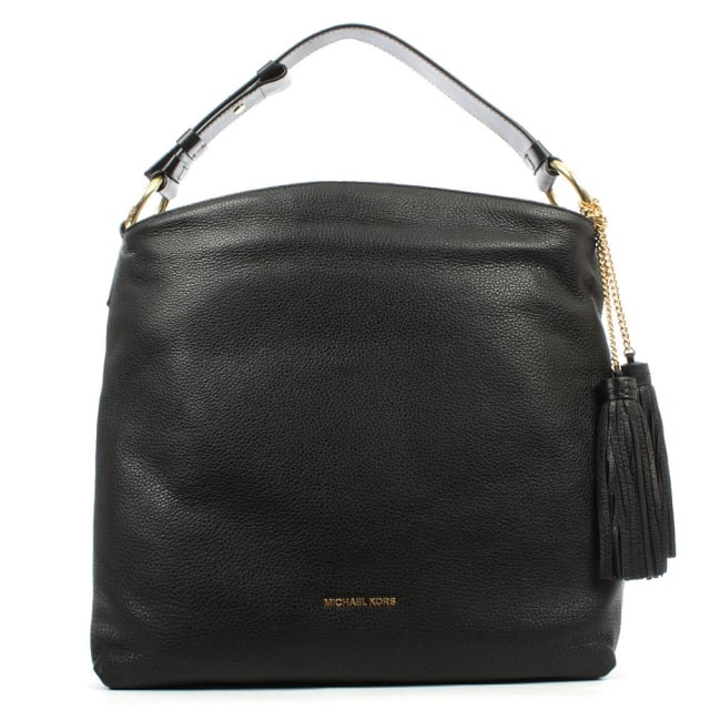 Elyse Large Black Leather Shoulder Bag